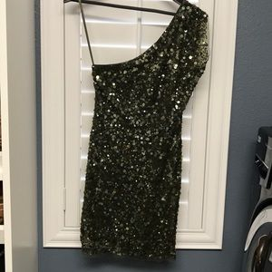 Arden B green sequin mini dress